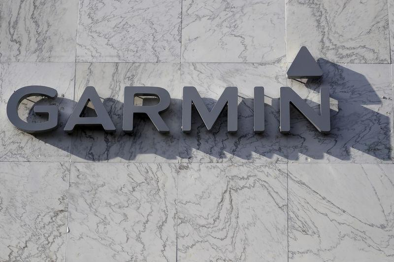 FILE PHOTO - A Garmin logo is pictured on a building along the Lincoln Road Mall in Miami Beach