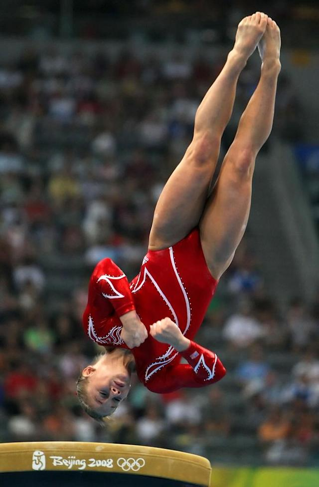 Shawn Johnson of the United States competes in the vault during the artistic gymnastics team event at the National Indoor Stadium during Day 5 of the Beijing 2008 Olympic Games on August 13, 2008 in Beijing, China.