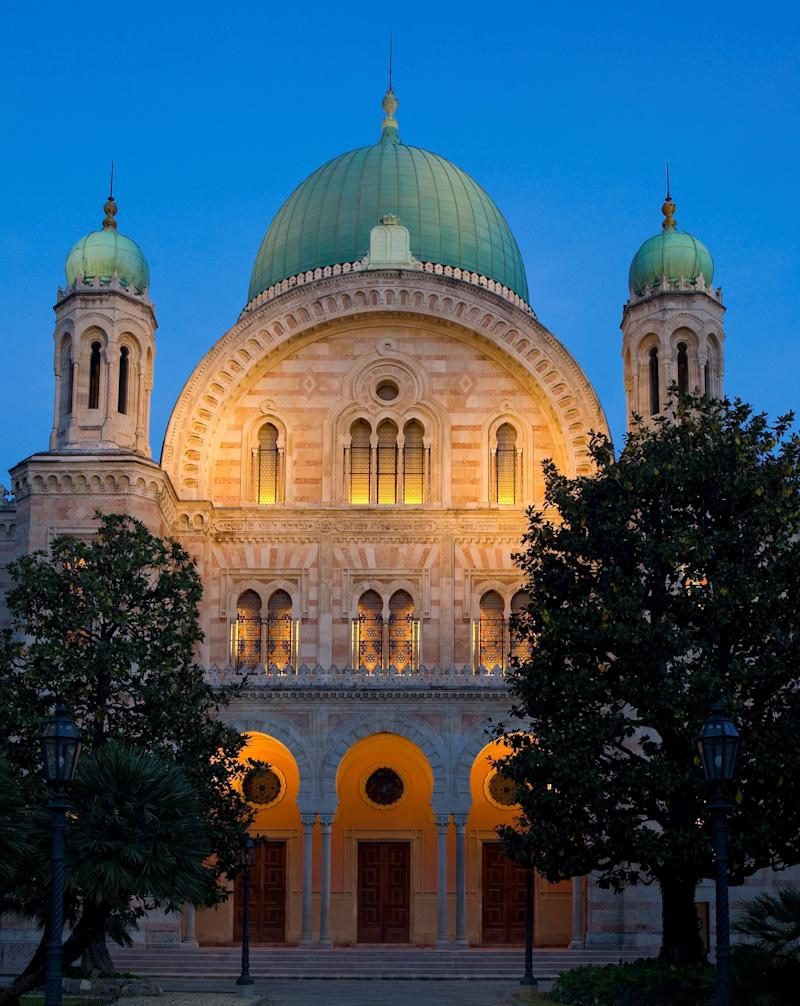 """The Tempio Maggiore, or Great Synagogue, of Florence <a href=""""https://www.bh.org.il/tempio-maggiore-great-synagogue-florence/"""" target=""""_blank"""">took eight years to build</a> and opened its doors in 1882 near the historic center of the Italian city.It was intended to serve the local Sephardi community, and its design echoes motifs from the Moorish architecture of Spain."""