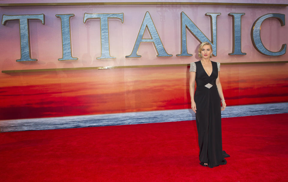 Actress Kate Winslet arrives at the 'Titanic 3D' UK film premiere at the Royal Albert Hall in Kensington, West London, Tuesday, March 27, 2012. The re-launch of the Titanic 3D version comes 15 years after the film was a huge box office hit. (AP Photo/Joel Ryan)