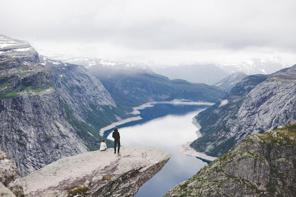 <p>Trolltunga translates as troll's tongue and perfectly describes the piece of jutting rock. </p>