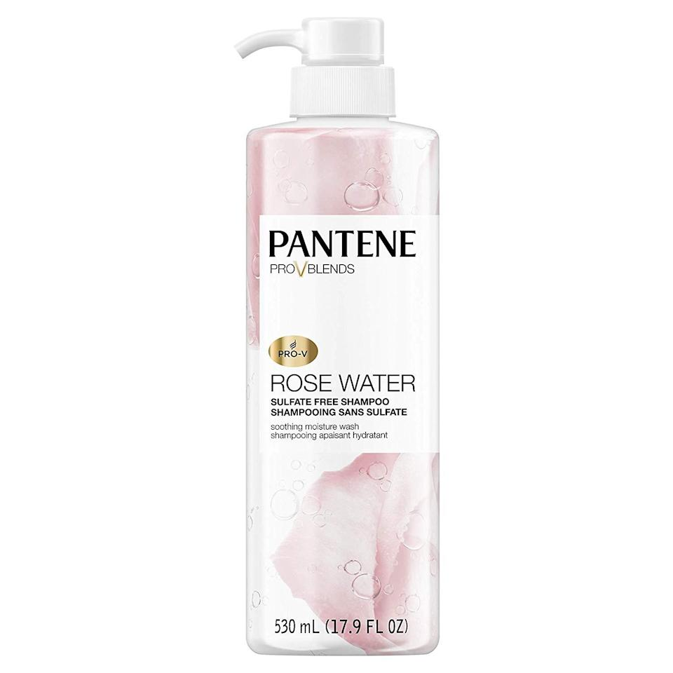 """<h3>Pantene Pro-V Blends Soothing Rose Water Shampoo </h3><br><br>A rose by any other name...would be a great Amazon beauty buy. Pick up this sulfate-free formula (which feels and smells way more expensive than it is) and the matching <a href=""""https://www.amazon.com/Pantene-Shampoo-Sulfate-Paraben-Soothing/dp/B07KKZFVJV?th=1"""" rel=""""nofollow noopener"""" target=""""_blank"""" data-ylk=""""slk:conditioner"""" class=""""link rapid-noclick-resp"""">conditioner</a> during your next haul — you won't be disappointed.<br><br><strong>Pantene</strong> Pro-V Blends Soothing Rose Water Shampoo, 2 Pack, $, available at <a href=""""https://amzn.to/3jEUT5P"""" rel=""""nofollow noopener"""" target=""""_blank"""" data-ylk=""""slk:Amazon"""" class=""""link rapid-noclick-resp"""">Amazon</a>"""
