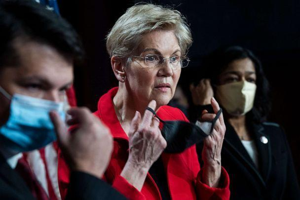 PHOTO: Rep. Brendan Boyle, Sen. Elizabeth Warren and Rep. Pramila Jayapal conduct a news conference in the Capitol to introduce the Ultra-Millionaire Tax Act which would tax high net worth households on Monday, March 1, 2021. (Tom Williams/CQ-Roll Call via Getty Images)