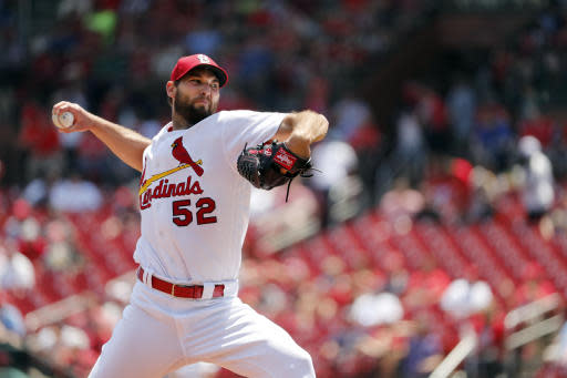 St. Louis Cardinals starting pitcher Michael Wacha throws during the first inning of a baseball game against the Kansas City Royals Wednesday, May 23, 2018, in St. Louis. (AP Photo/Jeff Roberson)