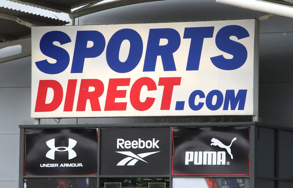 LONDON, UNITED KINGDOM - 2020/06/15: Sports Direct logo seen at one of their branches. (Photo by Keith Mayhew/SOPA Images/LightRocket via Getty Images)