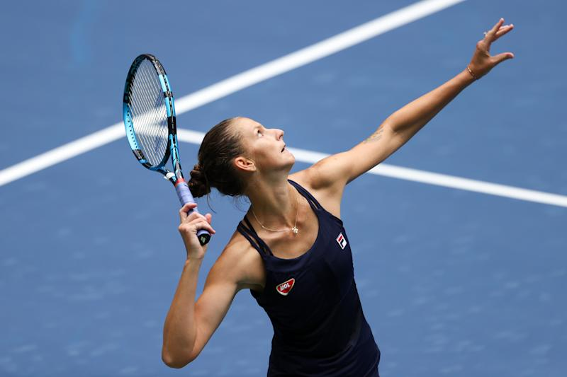 NEW YORK, NEW YORK - AUGUST 31: Karolina Pliskova of the Czech Republic serves during her Women's Singles first round match against Anhelina Kalinina of the Ukraine on Day One of the 2020 US Open at the USTA Billie Jean King National Tennis Center on August 31, 2020 in the Queens borough of New York City. (Photo by Al Bello/Getty Images)