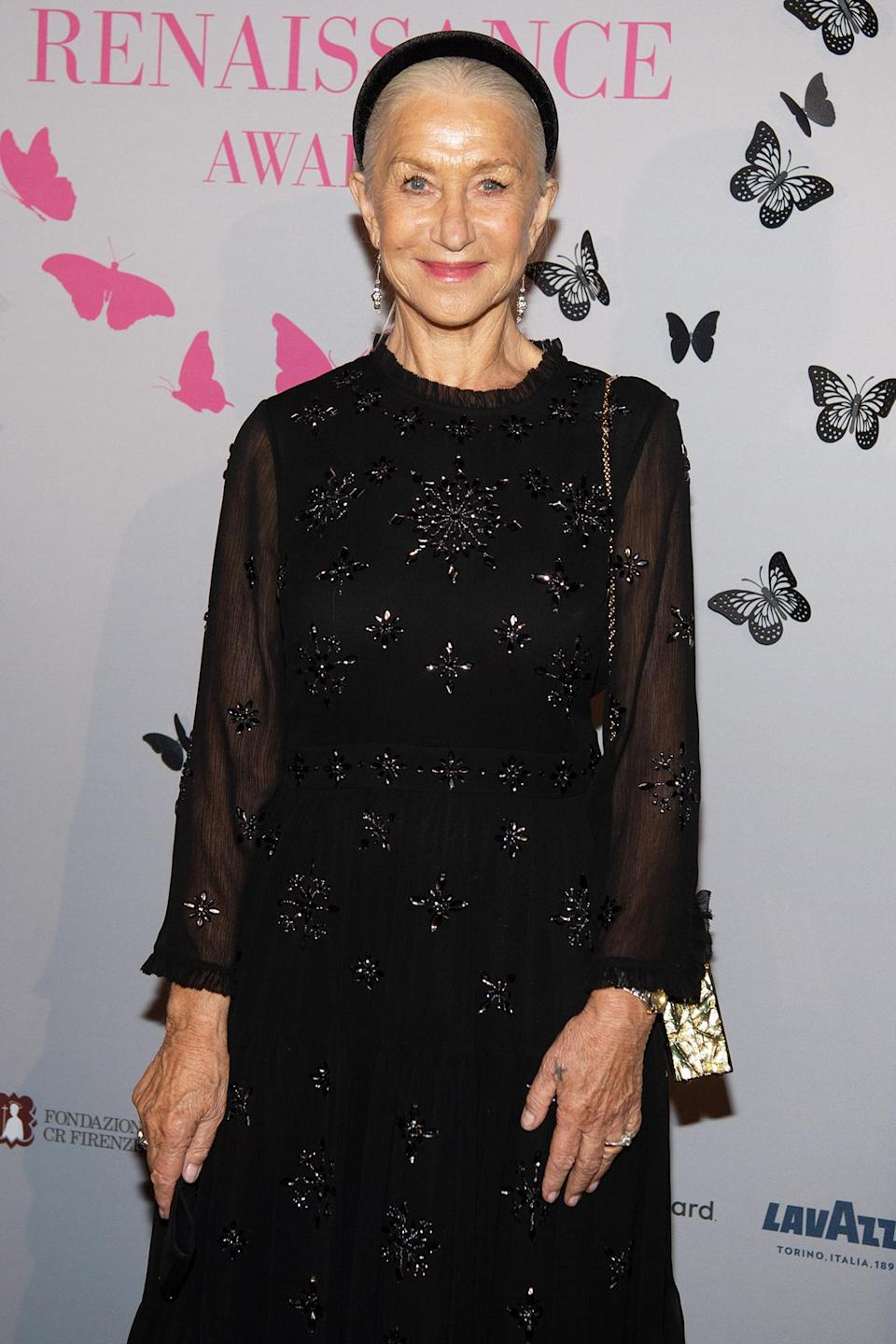 <p>Dame Helen Mirren arrives at the 2021 Renaissance Awards screening at Palazzo Vecchio on Oct. 11 in Florence, Italy. </p>