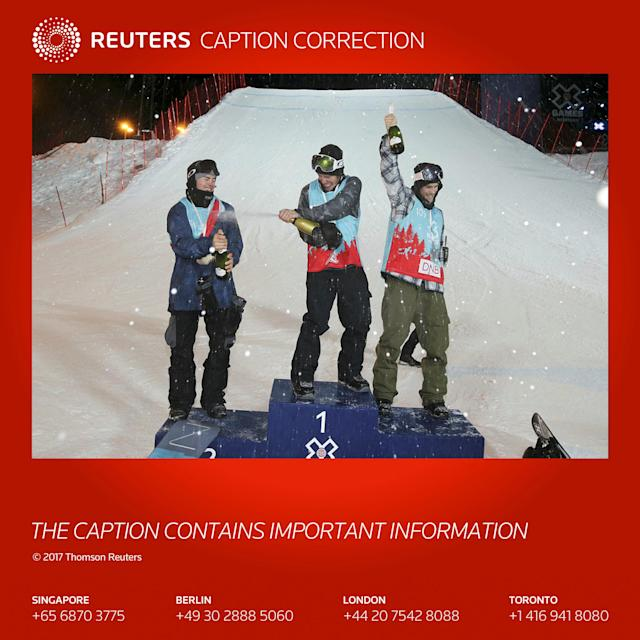 ATTENTION EDITORS - CAPTION CORRECTION FOR GDY926 TRANSMITTED ON MARCH 10, 2017 AT APPROXIMATELY 2007 GMT. AN ATHLETE'S NAME WAS INCORRECTLY STATED IN THE CAPTION. CORRECTED VERSION HAS BEEN TRANSMITTED. WE ARE SORRY FOR ANY INCONVENIENCE CAUSED. REUTERS. Snowboarding - X Games Men's Snowboard Slopestyle finals, Hafjell, Norway - 10/3/17 - Gold medalist Sven Thorgren of Sweden, Silver medalist Stale Sandbech of Norway and bronze medalist Sebastien Toutant of Canada celebrate on the podium. NTB Scanpix/Geir Olsen/via REUTERS ATTENTION EDITORS - THIS IMAGE WAS PROVIDED BY A THIRD PARTY. FOR EDITORIAL USE ONLY. NORWAY OUT. NO COMMERCIAL OR EDITORIAL SALES IN NORWAY. NO COMMERCIAL SALES. TEMPLATE OUT.