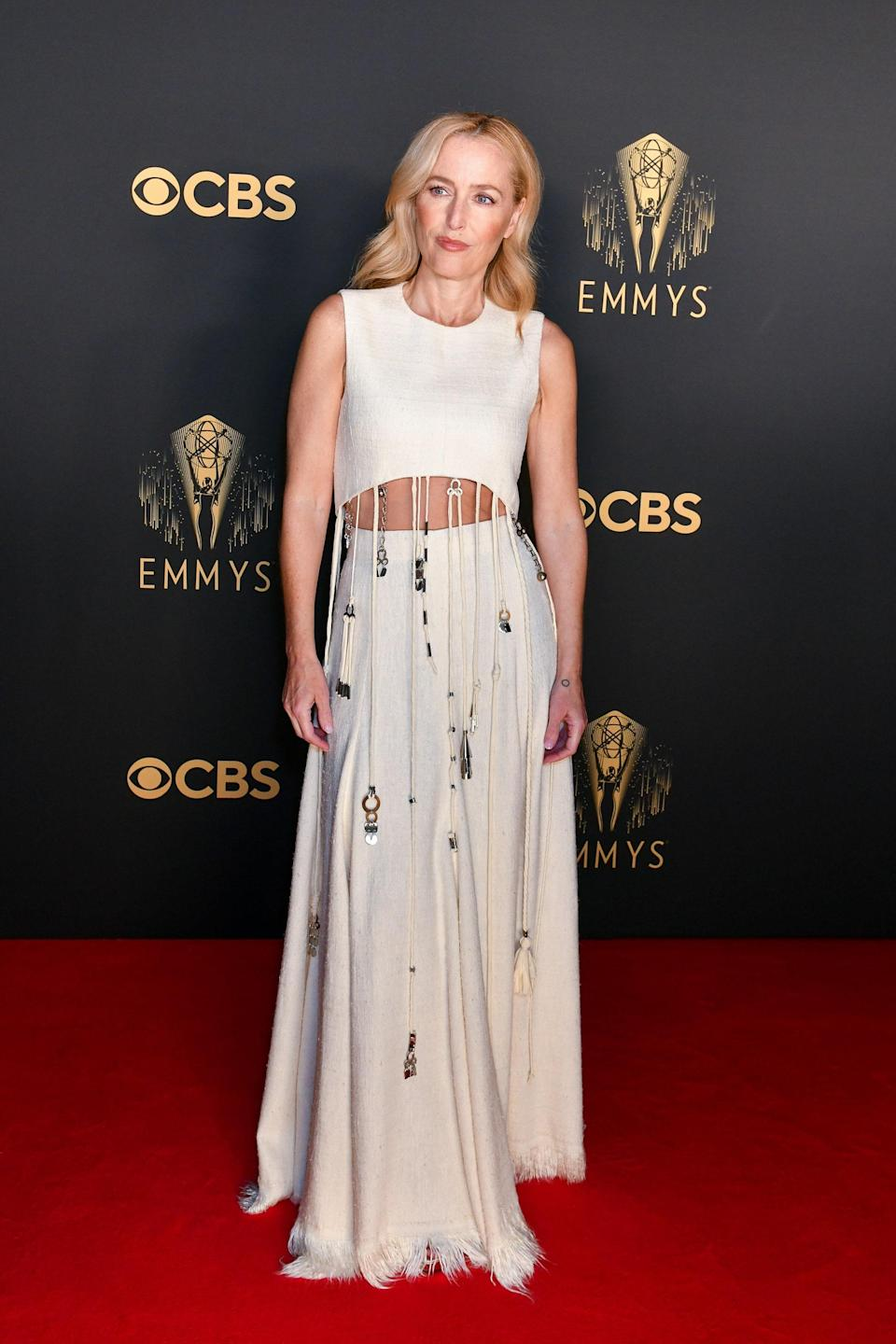 Also from London, <em>The Crown</em> star looked super cool in a crop-top Chloé gown.