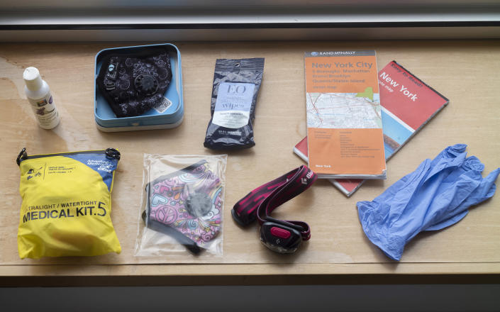 Some of the items that Anna Maria Bounds, a professor and urban sociologist at Queens College of the City University of New York, finds important to have in a safety kit, in New York on March 13, 2020. (Miranda Barnes/The New York Times)