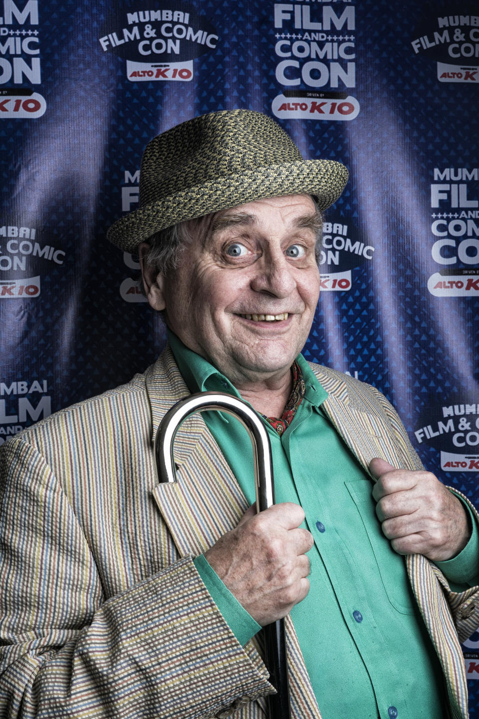 MUMBAI, INDIA - DECEMBER 20, 2015: Scottish actor Sylvester McCoy at the fifth annual edition of Mumbai Film & Comic Con at Goregaon,  on December 20, 2015 in Mumbai, India. (Photo by Aalok Soni/ Hindustan Times via Getty Images)