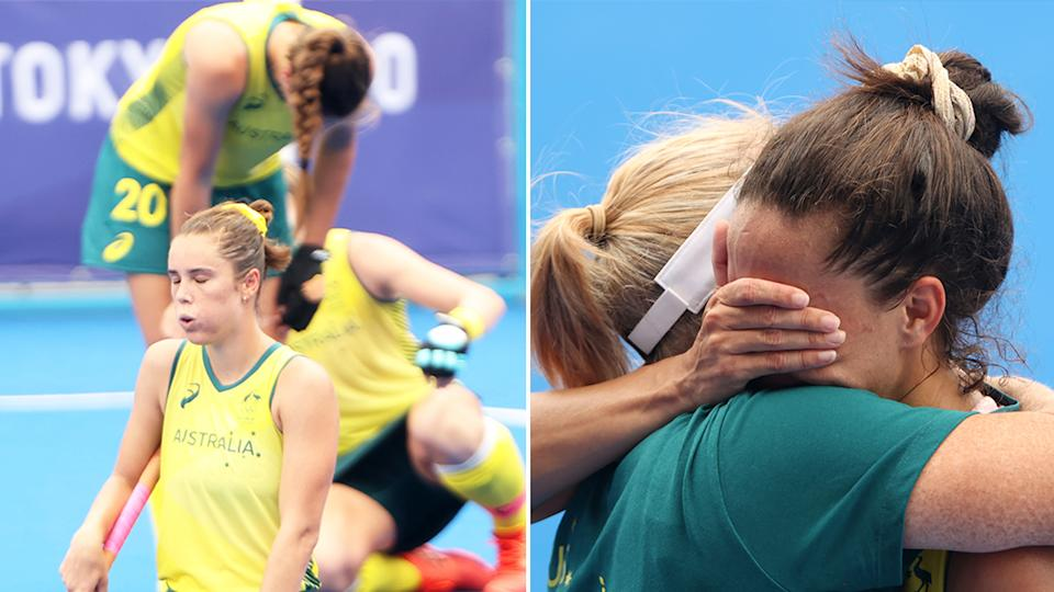 The Hockeyroos players were left devastated after their upset loss in the quarter-finals to India at the Tokyo Olympics. (Getty Images)