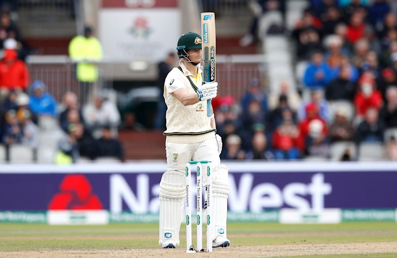 Australia's Steve Smith celebrates his half century during day one of the fourth Ashes Test at Emirates Old Trafford, Manchester. (Photo by Martin Rickett/PA Images via Getty Images)