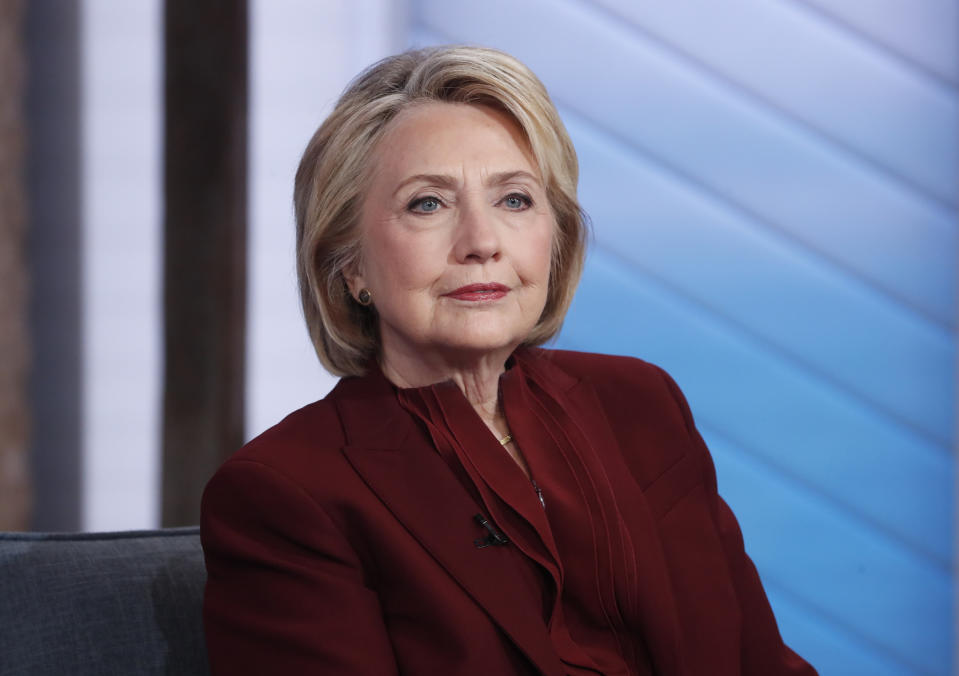 """GOOD MORNING AMERICA - 10/1/19 Hillary Clinton and Chelsea Clinton are guests on """"Good Morning America,"""" Tuesday, October 1, 2019 on the Walt Disney Television Network. GMA19 (Photo by Lou Rocco/ABC via Getty Images) HILLARY CLINTON"""