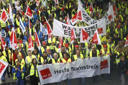 Members of German public sector workers union Verdi stage a strike at the airport in demand for higher wages in Frankfurt