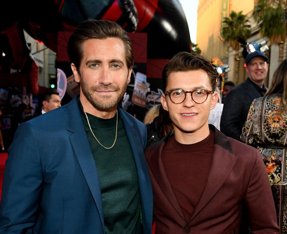 <p>Jake Gyllenhaal and Tom Holland arrive at the premiere of </p><p><em>Spider-Man Far From Home </em>at TCL Chinese Theatre on June 26, 2019 in Hollywood, California.</p>
