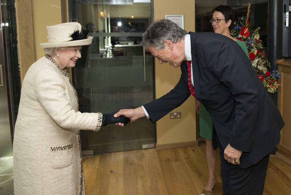 The Queen meeting David Lascelles, 8th Earl of Harewood during a visit to Leeds in 2012. (Arthur Edwards/The Sun/PA Wire)