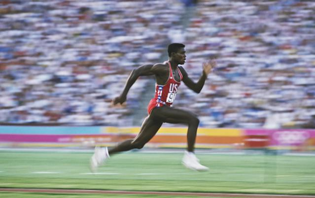 Aug 1984: Carl Lewis of the USA accelerates down the runway of the long jump during the 1984 Summer Olympics at the Los Angeles Memorial Coliseum in Los Angeles, California. Mandatory Credit: David Cannon/Allsport