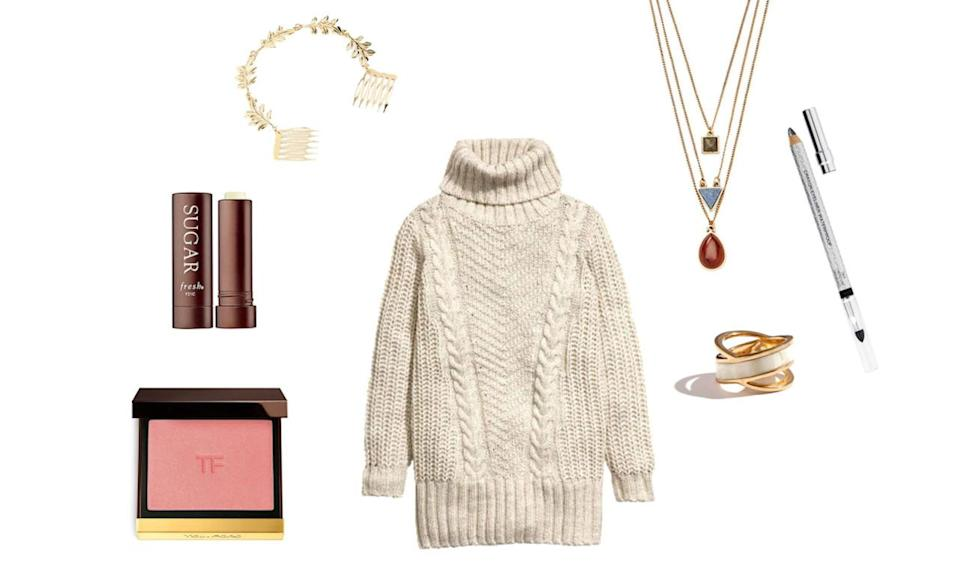 <p>In romantic comedies, it's often the down-to-earth girl next door who finds true love. Still searching for your happy ending? Try a totally approachable (and extremely cozy) cable knit sweater, paired with sweet rosy cheeks and a statement hair comb that's guaranteed to help you stand out in the online sea of singles.</p>