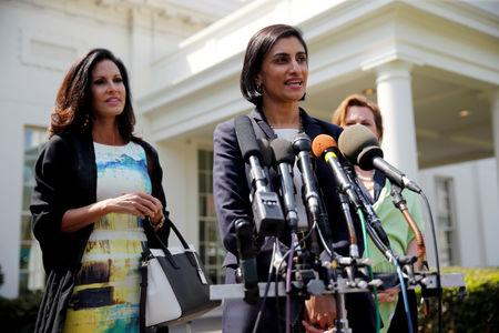 FILE PHOTO: Verma talks to reporters about Trump's signing of House Resolution 43 at the White House in Washington