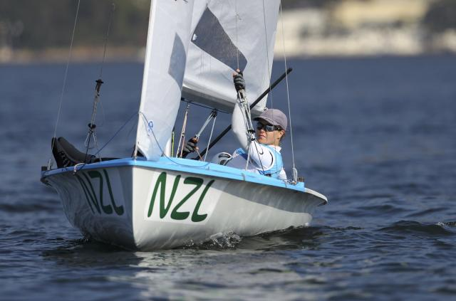 2016 Rio Olympics - Sailing - Final - Women's Two Person Dinghy - 470 - Medal Race - Marina de Gloria - Rio de Janeiro, Brazil - 17/08/2016. Jo Aleh (NZL) of New Zealand and Polly Powrie (NZL) of New Zealand wait for the start of the race. REUTERS/Benoit Tessier FOR EDITORIAL USE ONLY. NOT FOR SALE FOR MARKETING OR ADVERTISING CAMPAIGNS.