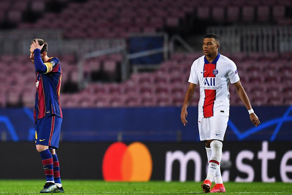 <p>Bad night for Messi/good night for Mbappe</p> (Getty Images)