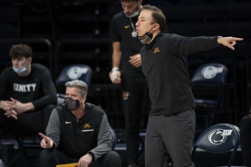 Minnesota coach Richard Pitino yells to the team during the team's NCAA college basketball game against Penn State on Wednesday, March 3, 2021, in State College, Pa. (Noah Riffe/Centre Daily Times via AP)