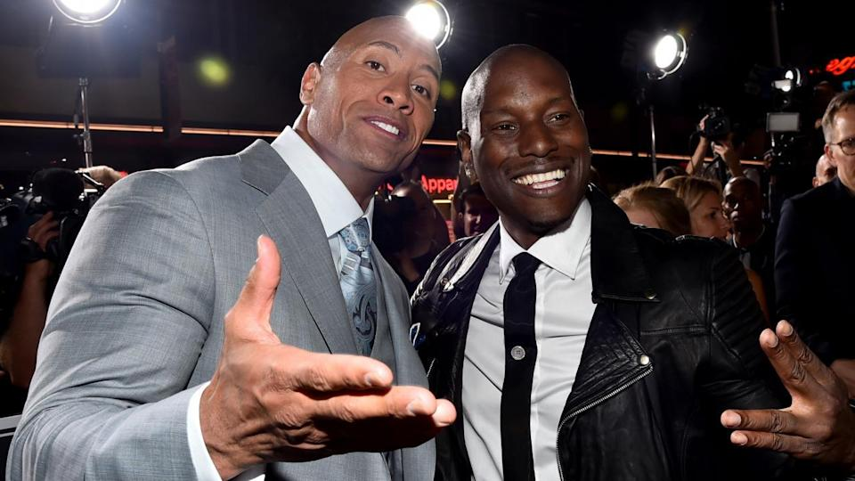 Dwayne Johnson and Tyrese Gibson in happier times.
