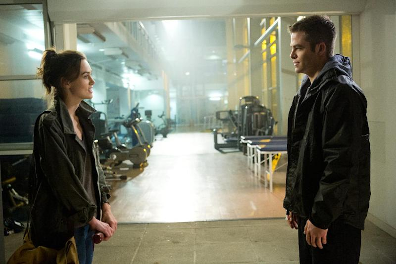 "This image released by Paramount Pictures shows Keira Knightley, left, and Chris Pine in ""Jack Ryan: Shadow Recruit,"" an action thriller about a covert CIA analyst who uncovers a Russian plot to crash the U.S. economy with a terrorist attack. (AP Photo/Paramount Pictures, Larry Horricks)"