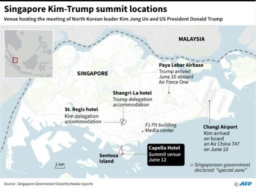 Map showing the venue of the June 12 summit between US President Donald Trump and North Korean leader Kim Jong Un
