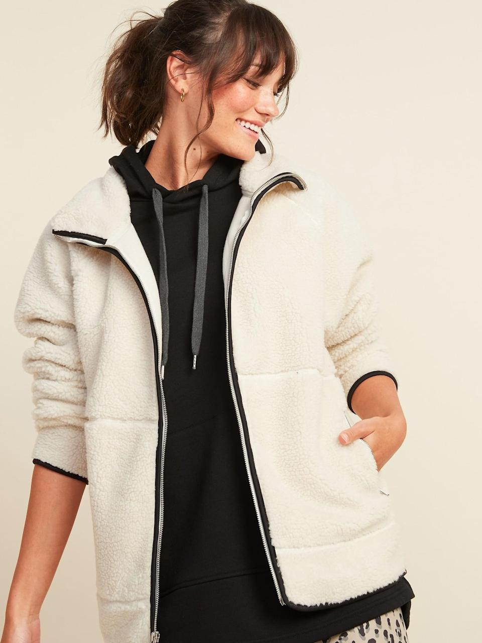<p>Basically, you'll never take this <span>Cozy Teddy Sherpa Long Zip Jacket</span> ($65) off.</p>