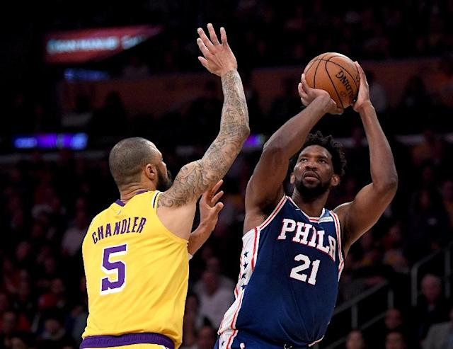 Philadelphia's Joel Embiid, shooting over the Los Angeles Lakers' Tyson Chandler in a January contest, scored 37 points in a 143-120 NBA rematch with the Lakers (AFP Photo/Harry How)