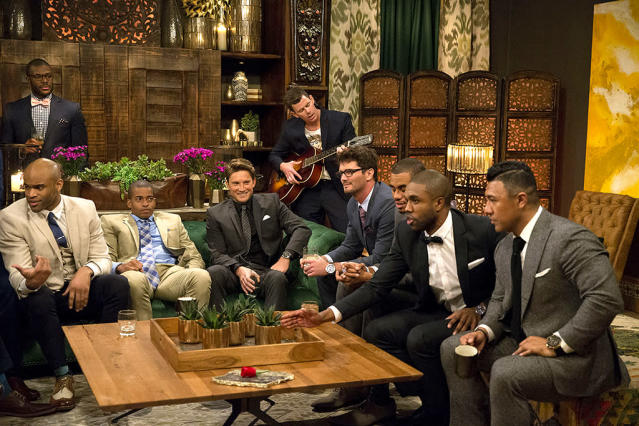 <p>Kenneth, Anthony, Brady, Jonathan, Lucas, Robert, Milton, and Demario, Iggy on ABC's <i>The Bachelorette</i>. <br>(Photo: Paul Hebert/ABC) </p>