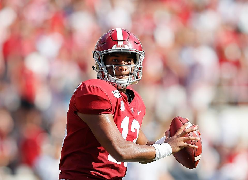 Tua Tagovailoa becomes the first Alabama quarterback under Nick Saban to be selected in the first round of the NFL draft. (Photo by Kevin C. Cox/Getty Images)