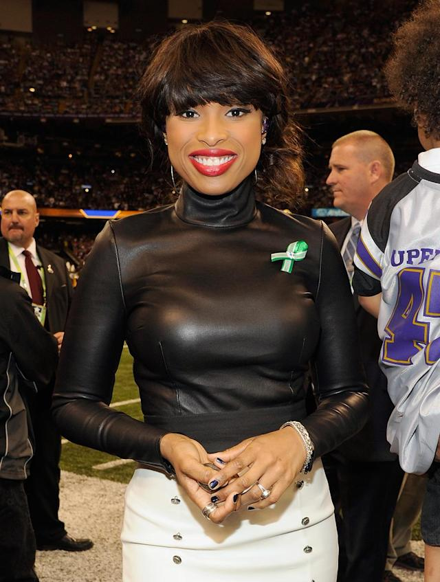 Jennifer Hudson attends the Pepsi Super Bowl XLVII Pregame Show at Mercedes-Benz Superdome on February 3, 2013 in New Orleans, Louisiana. (Photo by Kevin Mazur/WireImage)