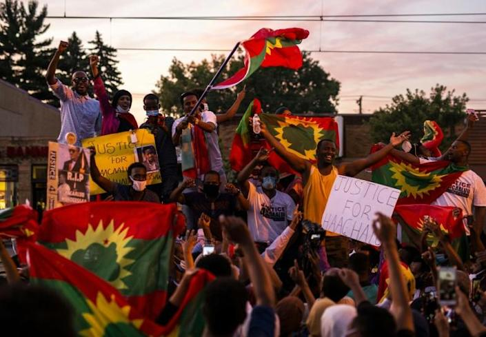 Protests even broke out in the Oromo community in the US state of Minnesota over the musician's death (AFP Photo/Stephen Maturen)