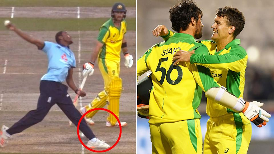 Jofra Archer is seen here bowling a no ball to Alex Carey that would prove costly.