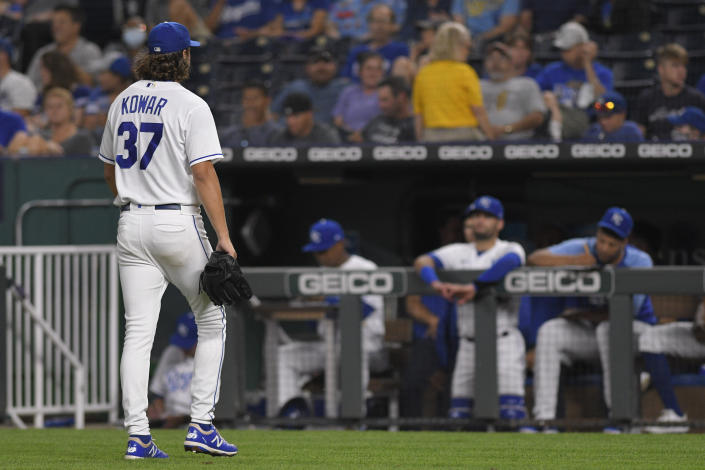 Kansas City Royals starting pitcher Jackson Kowar was pulled in the second inning after giving up five runs to the Oakland Athletics during a baseball game, Tuesday, Sept. 14, 2021 in Kansas City, Mo. (AP Photo/Reed Hoffmann)