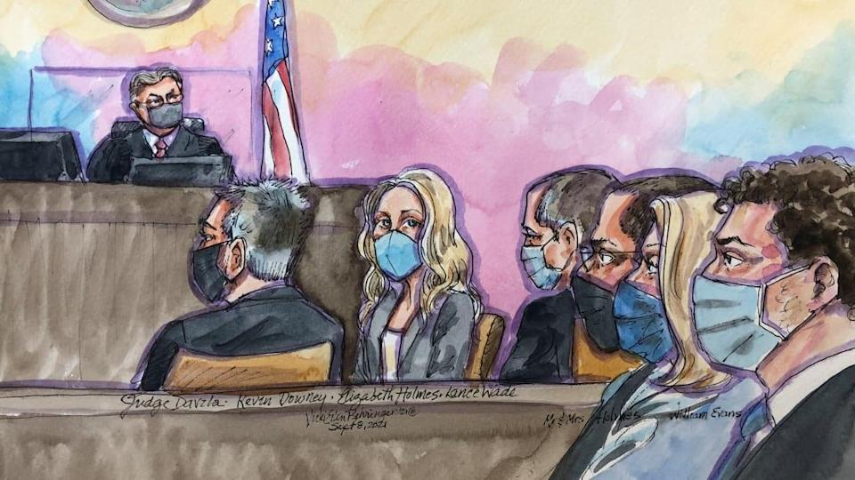 """<div class=""""inline-image__title"""">THERANOS-HOLMES/</div> <div class=""""inline-image__caption""""><p>Theranos founder Elizabeth Holmes appears at Robert F. Peckham U.S. Courthouse for opening arguments in her trial, in San Jose, California, Sept. 8, 2021, in this courtroom sketch.</p></div> <div class=""""inline-image__credit"""">Reuters/Vicki Behringer</div>"""