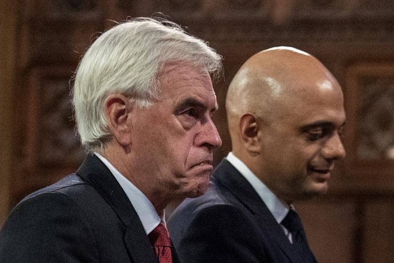 Shadow chancellor John McDonnell, left, walks with Chancellor of the exchequer Sajid Javid during the state opening of parliament at Westminster Palace in London on 14 October. Photo: Jack Hill/Reuters