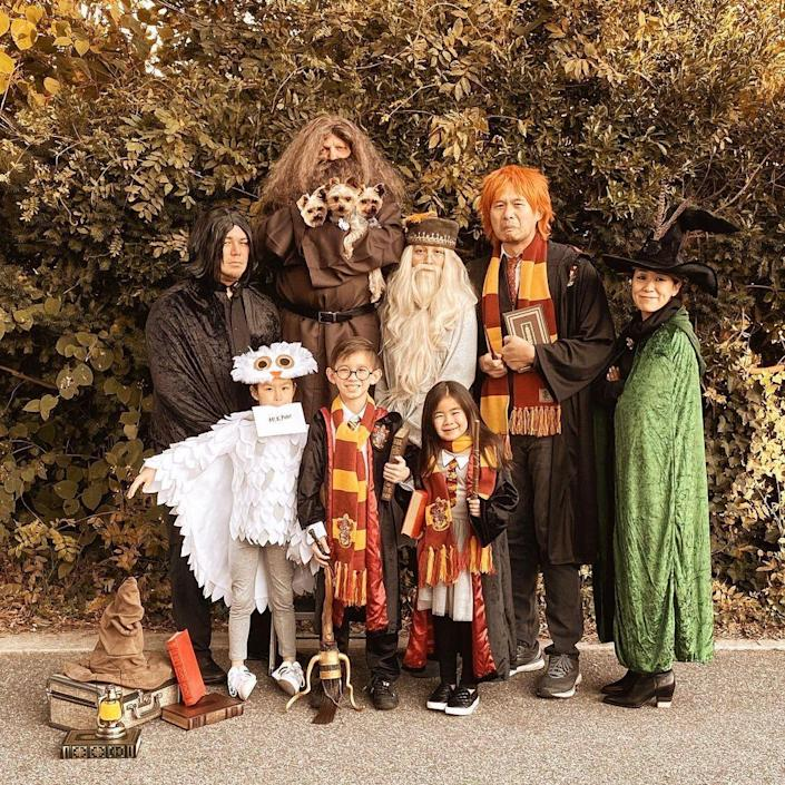 """<p>You'll siriusly win Halloween with a Dumble-adorable Harry Potter theme for your group costume. Look closely—there's even a costume idea for your dog in there! </p><p><strong>See more at <a href=""""https://www.instagram.com/p/B4SDnMfA6rl/"""" rel=""""nofollow noopener"""" target=""""_blank"""" data-ylk=""""slk:@missmalot"""" class=""""link rapid-noclick-resp"""">@missmalot</a>.</strong></p><p><a class=""""link rapid-noclick-resp"""" href=""""https://www.amazon.com/Harry-Potter-Scarf-Official-Gryffindor/dp/B00IYIENWQ/ref=sr_1_3?dchild=1&tag=syn-yahoo-20&ascsubtag=%5Bartid%7C10050.g.32906192%5Bsrc%7Cyahoo-us"""" rel=""""nofollow noopener"""" target=""""_blank"""" data-ylk=""""slk:Shop Gryffindor Scarf"""">Shop Gryffindor Scarf </a></p>"""