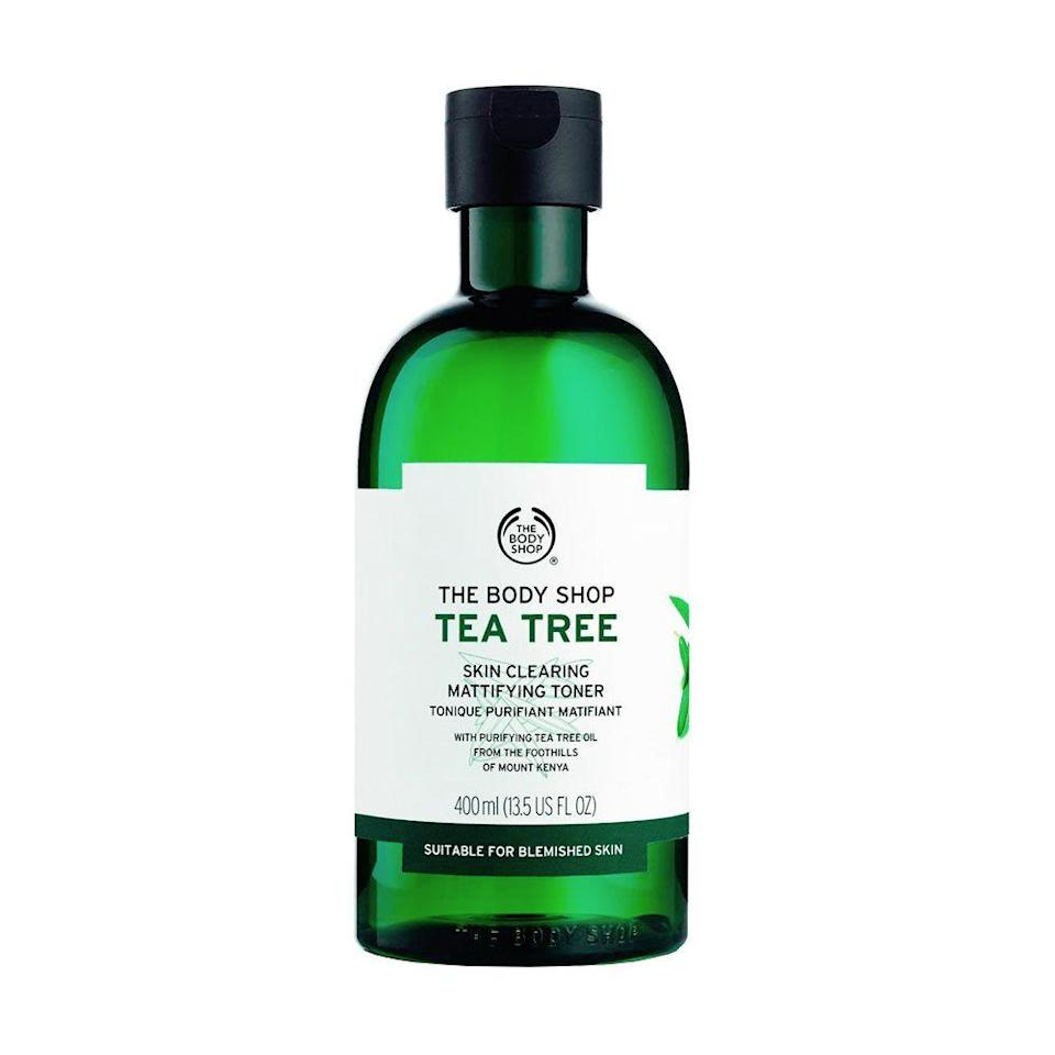 """<p><strong>The Body Shop</strong></p><p>thebodyshop.com</p><p><strong>$14.00</strong></p><p><a href=""""https://go.redirectingat.com?id=74968X1596630&url=https%3A%2F%2Fwww.thebodyshop.com%2Fen-us%2Fcollection%2Ftea-tree-oil-for-skin%2Ftea-tree-skin-clearing-mattifying-toner%2Fp%2Fp000521%3Fclear%3Dtrue&sref=https%3A%2F%2Fwww.bestproducts.com%2Fbeauty%2Fg249%2Ffacial-toners-for-every-skin-type%2F"""" rel=""""nofollow noopener"""" target=""""_blank"""" data-ylk=""""slk:Shop Now"""" class=""""link rapid-noclick-resp"""">Shop Now</a></p><p>For those dealing with a constant battle against acne, this <a href=""""https://www.bestproducts.com/beauty/g26855992/tea-tree-oil-for-skin/"""" rel=""""nofollow noopener"""" target=""""_blank"""" data-ylk=""""slk:tea tree oil"""" class=""""link rapid-noclick-resp"""">tea tree oil</a>-infused toner from The Body Shop is an excellent choice. It not only rids the skin of any makeup or residue, but it works to mattify the skin and banish blemishes in one easy step.</p>"""