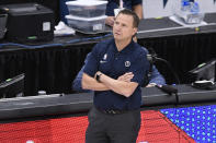 Washington Wizards head coach Scott Brooks looks on during the first half of Game 4 in a first-round NBA basketball playoff series against the Philadelphia 76ers, Monday, May 31, 2021, in Washington. (AP Photo/Nick Wass)