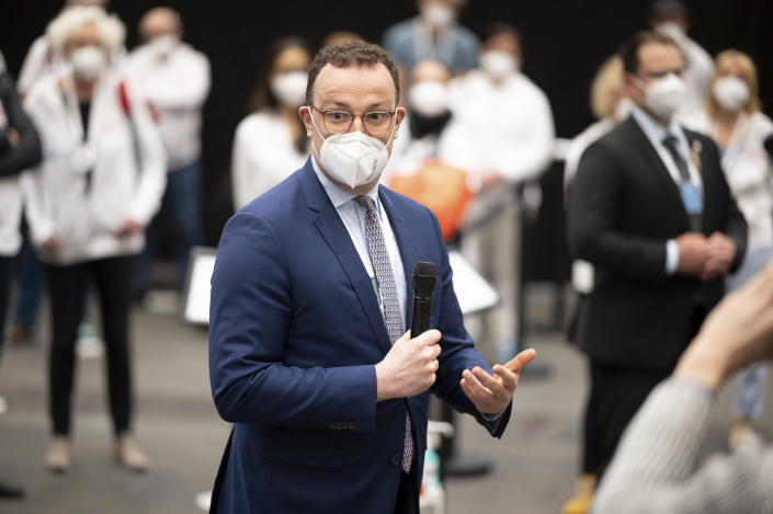 Jens Spahn, Federal Minister of Health, visits the vaccination centre in Hamburg, Germany and gives a speech to the staff of the vaccination centre on Friday, April 30, 2021. (Daniel Reinhardt/Pool via AP)