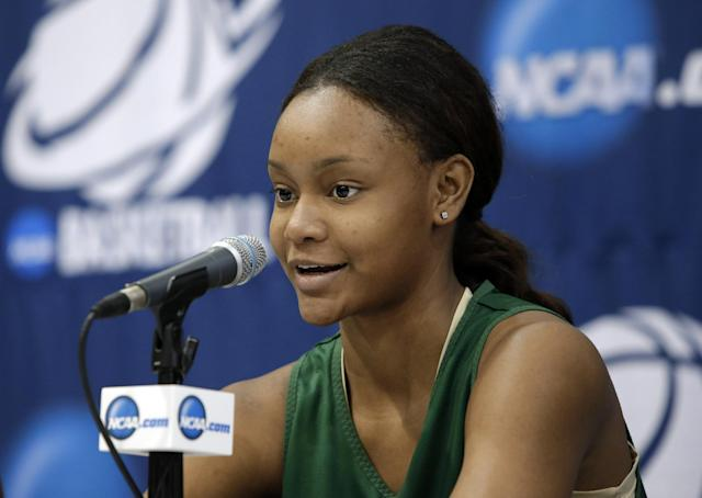 Baylor's Nina davis responds to a question during an NCAA college basketball tournament news conference on Sunday, March 23, 2014, in Waco, Texas. Baylor is scheduled to play California on Monday. (AP Photo/Tony Gutierrez)