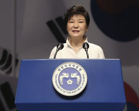 South Korean President Park Geun-hye speaks during a ceremony marking the 69th anniversary of liberation from Japan's 1910-45 colonial rule, on Liberation Day in Seoul