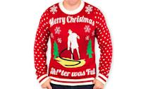 """<p>Hmmm, wonder what Cousin Eddie's doing out on our front lawn with a hose? Just read the sweater, people. <a rel=""""nofollow noopener"""" href=""""https://www.amazon.com/gp/product/B06Y49LXBP/ref=as_li_ss_tl?ie=UTF8&linkCode=sl1&tag=iishish-20&linkId=d5494fb25fcdddaf5e2f85f5e9e47ea3"""" target=""""_blank"""" data-ylk=""""slk:Buy here"""" class=""""link rapid-noclick-resp""""><strong>Buy here</strong></a> </p>"""