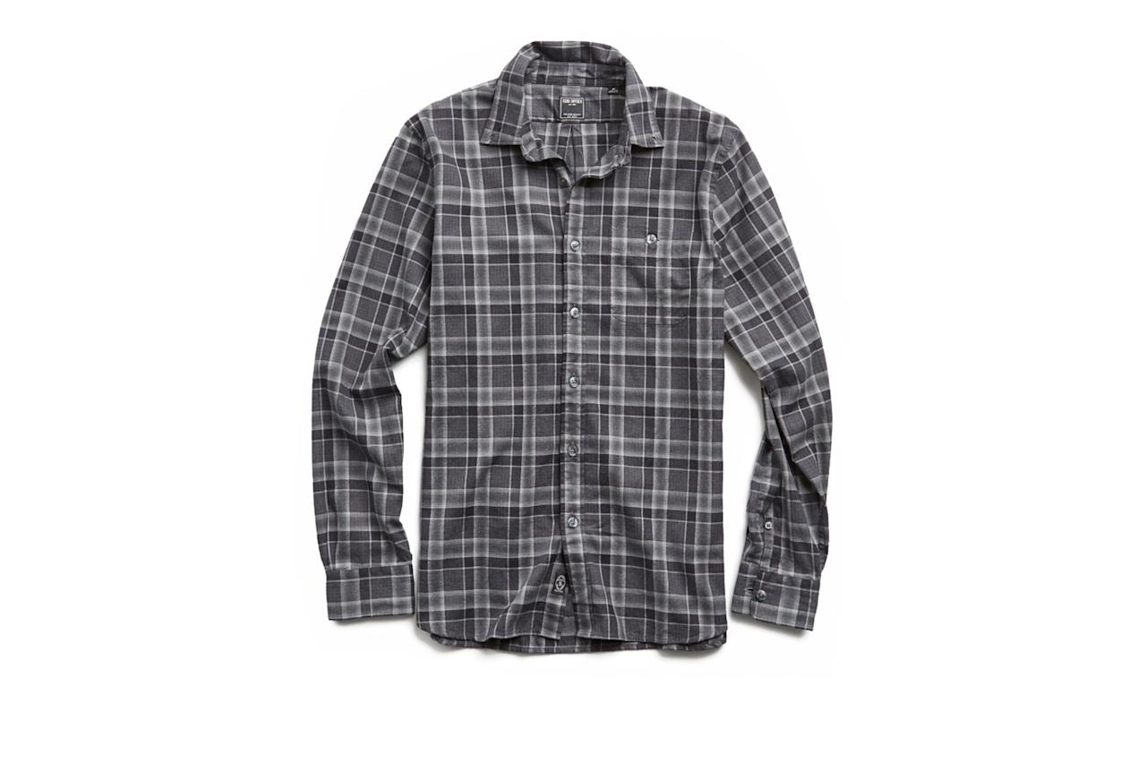 "$178, Todd Snyder. <a href=""https://www.toddsnyder.com/collections/luxe-utility-collection/products/charcoal-plaid-flannel-shirt-grey"">Get it now!</a>"