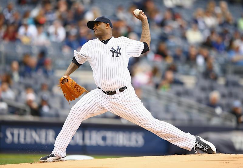 CC Sabathia of the New York Yankees pitches during a game against the Tampa Bay Rays at Yankee Stadium on May 4, 2014