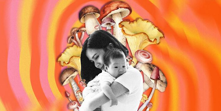 mother cradling her baby surrounded by large mushroom illustrations, on top of an orange psychedelic background